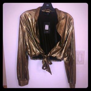 Fashion Nova gold shimmer top NEW